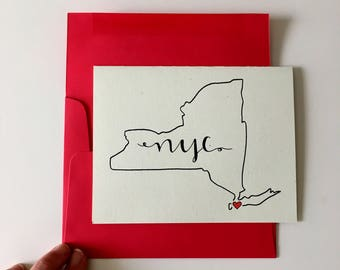 New York City Cards / NYC Map Gifts / New York Stationery / Moving to NYC Card