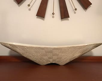 Vintage Large Shawnee Pottery Mid Century Modern Silver Basketweave Console Dish