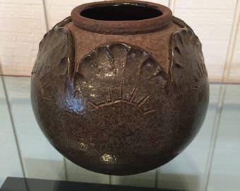 Vintage Studio Pottery Stoneware Pot Signed