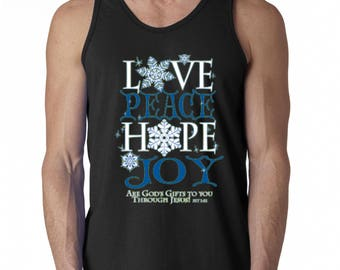Men Tank Top Peace Love Hope Joy Men's Tank Top God Gifts To You Tank Tops