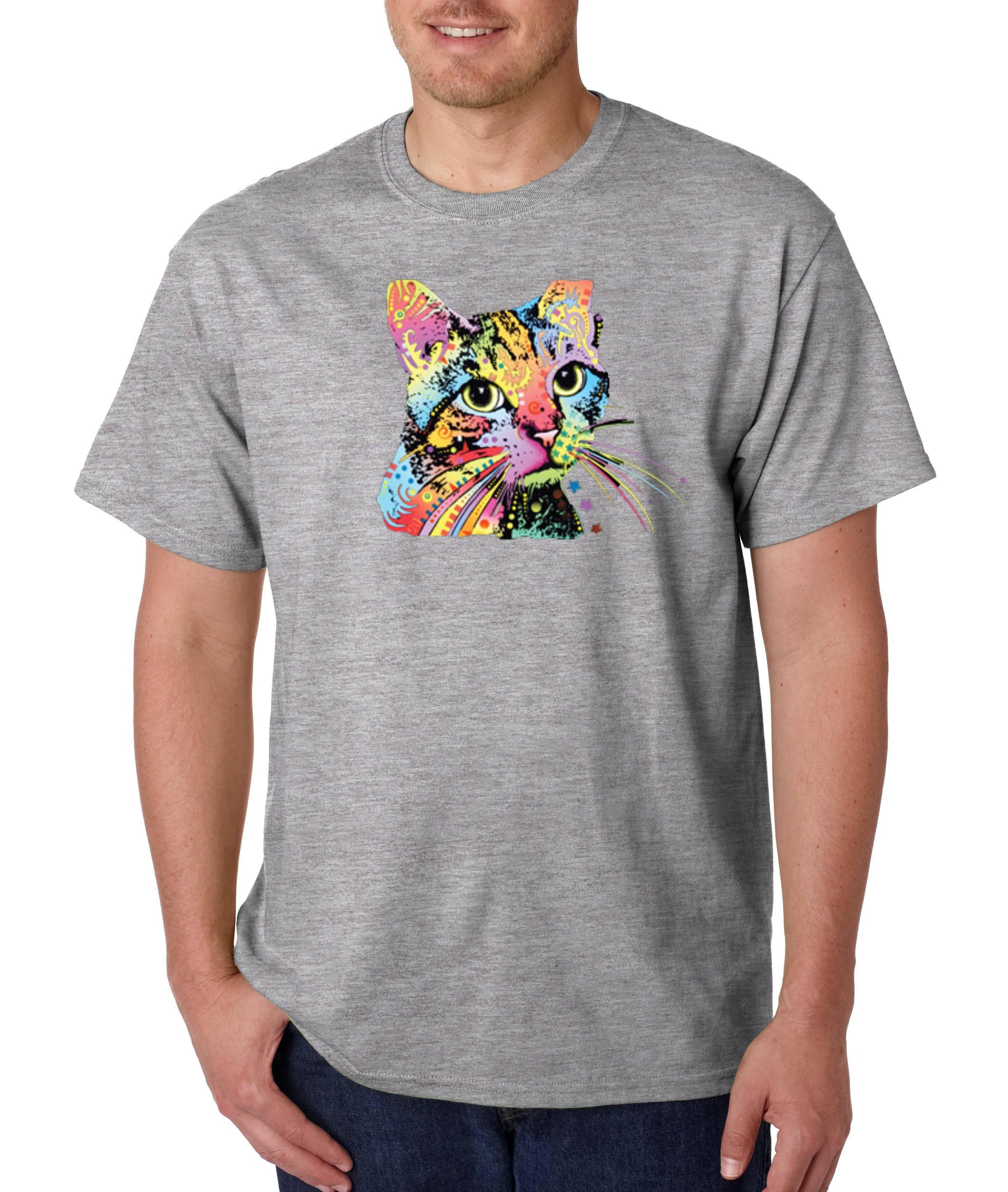 MEN UNI Abyssinian Cat I Love Cats T shirt Cute Cat Art Crazy