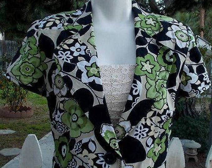 Vintage 90s Womens T. Milano Green Black White Floral Leaf Cotton Blend Short Sleeve Button Blazer Jacket 12