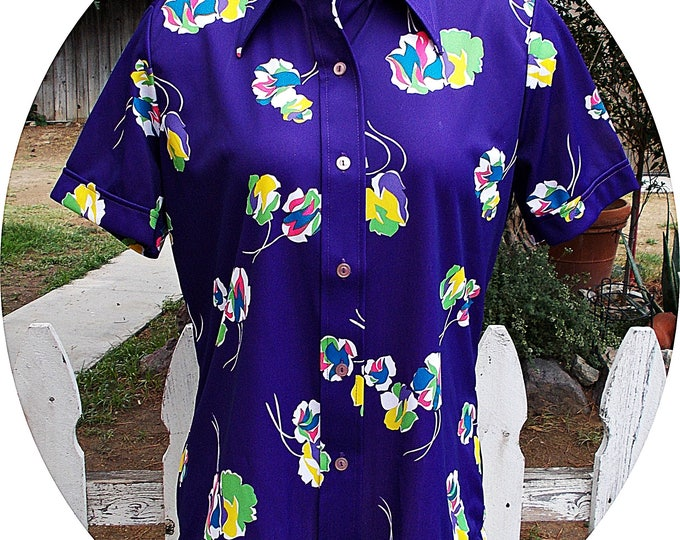 NWT Vintage 70s Mod Sears Purple White Floral Polyester Womens Preppy Short Sleeve Blouse Shirt Top Size 14