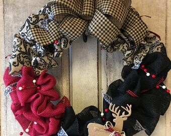 Burlap Ole'Buck Wreath/Black/Red/Paisley