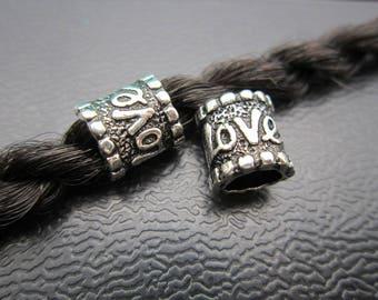 2PC love Antique silver Dreadlock beads dread Hair Braid Jewelry Beard Beads Accessories 5.6mm hole