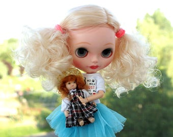 Custom Blythe Dolls For Sale by Custom Basaak doll with Pure Neemo body, Blythe clone, ooak - blonde curly hair