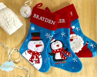 Personalised Christmas Stocking, Christmas stocking, Santa, Snowman, Penguin, Kids Stockings, Family, Red & Blue