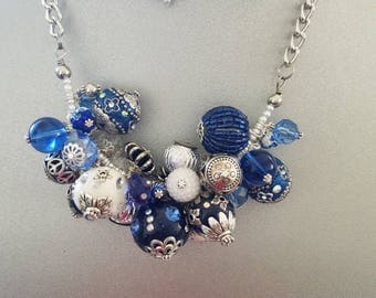 Blue necklaces, chunky necklaces, chunky, pearl necklaces, cluster, statement necklaces, Blue, white, large necklaces, handmade
