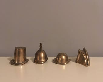 Set of Four Brass Vintage Hats