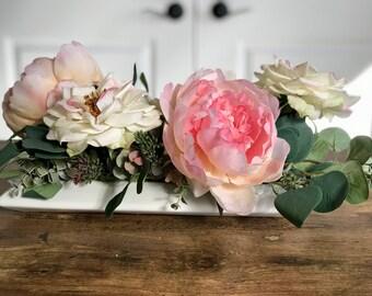 Shabby Chic Floral Arrangement Faux Flowers - Small Arrangement