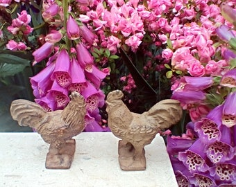 Vintage Cast Iron Rooster Statues