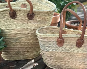 X-Large Straw Beach Tote | French Market Basket with leather handles