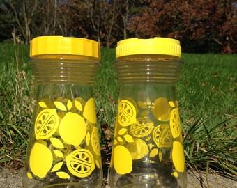 Set of 2 Vintage Lemonade Carafe Pitchers with Lids