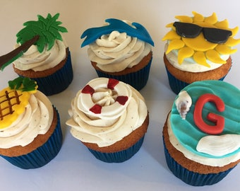 12  Beach  themed Cupcake Toppers