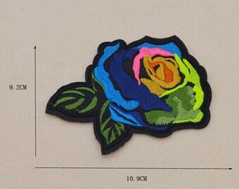 1 fusible / applique flowers pink multicolored 11 cm