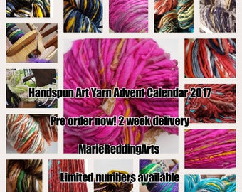 Handspun Art Yarn Advent Calendar 2017 MINI 300g christmas luxury handmade gift themed 17 options knitting crochet silk merino sparkle beads