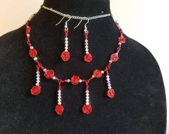 Swarovski Crystal Wire Wrapped Necklace Set, Swarovski Crystal Necklace, Swarovski Crystal Set, Red Necklace & Earring Set