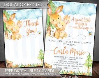 Bunny Baby Shower Invitation, Rabbit Baby Shower Invitation, Woodland Bunny Invitation, Easter Baby Shower Invitation, Digital Printed #685