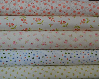Fat Quarter Bundle of 5 low-volume fabrics with a bit of color