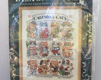 Vintage Calender Cats counted cross stitch kit