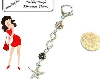 Rhinestone Handbag Dangle, Starfish Bag Charm, On Trend Gift, Versatile Key Ring, Zipper Charm, Jacket Decor, Sweater Zip Decor,Anytime Gift