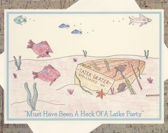 Judaica, Hanukkah Card, Hanukkah, Funny Hanukkah Card, Holiday Card, Jewish Card, Jewish Art, Judaica Cards, Latke, Seasonal Card