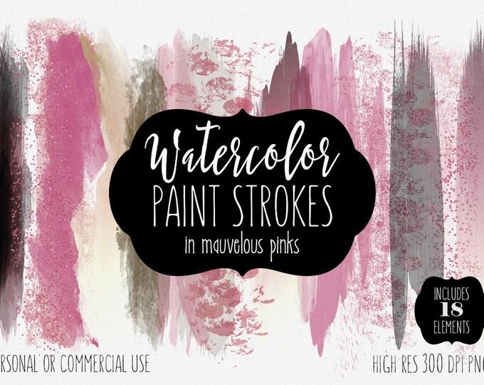 MAUVE PINK WATERCOLOR Brush Stroke Clipart Commercial Use Clip Art Watercolor Paint Blog Header Blush Pink Rose Gold Confetti Logo Clip Art
