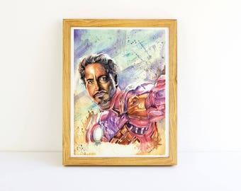 "Iron Man Poster in Abstract Watercolors | Iron Man Print | Iron Man Art 8.5X11"""