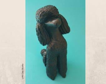 Black Poodle Head Tilt Sculpture