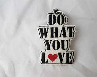 Key fob Do what you love from glitter leatherette