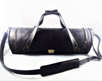 Black Leather Chef Bag, Gift for Him, Kitchen Accessories, Gifts for Chefs, Gifts for chef, Gifts for foodie,  Kitchen gift ideas