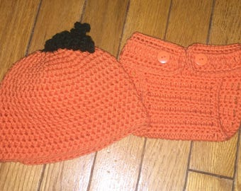 Pumpkin Hat, Halloween Photo Prop, Baby Pumpkin Hat, Baby Hat Set, Pumpkin Diaper Set, Fall Beanie