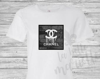 Ladies Chanel Inspired T-shirt - Chanel Shirt - Chanel Tee - Graffiti Chanel Shirt - Dripping Chanel Shirt
