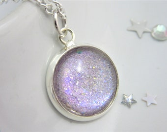 Purple Rainbow Round Glitter Nail Polish Cabochon Necklace on 18 Inch Silver Plated Chain, Lovely Gift, Blue Pink Multichrome, Holographic