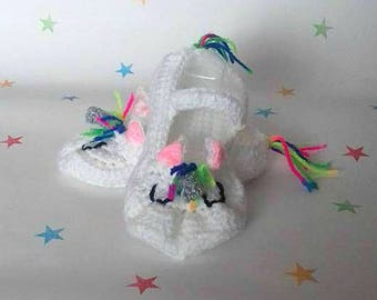 Unicorn Kids Shoes, Crochet baby shoes, Unicorn Booties, Crib Shoes, Children's slippers, Rainbow Pride Shoes, Gift for Newborn, Christening