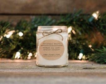 Christmas Candle, Rustic Christmas Decor, Candle Soy, Soy Candle, Christmas Tree Candle, Christmas Mantle, Holiday Candle, Holiday Decor
