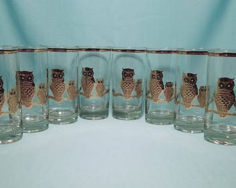CULVER HIGHBALL GLASS 22K Gold Black Owls Pisa Tall Highball Barware Water Tumbler Vintage Mid Century set of 8