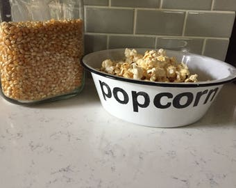 Vintage enamelware popcorn  bowl,  chippy and worn from the 1940's.  Hand stamped with the permanent word POPCORN.   Thoughtful  gift.