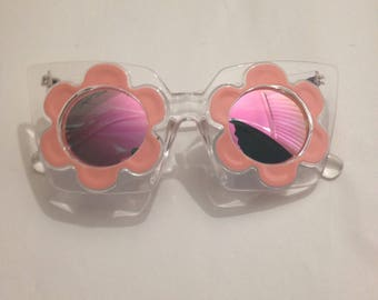 Flower Sunglasses, Pink, Clear Frame, Reflective Lens