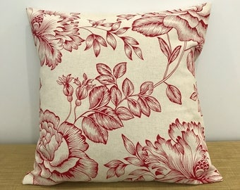 """Red French Provincial Linen Fabric Floral Cushion Cover. Decorative Throw Pillow. 18"""" (45cm). Made Australia. French Decor"""