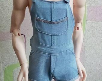 Denim short overalls