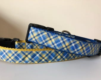 Blue and Yellow Plaid 1 inch Collar