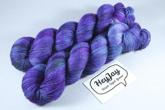 Hand Dyed Sparkle Merino Sock Yarn - Oilslick
