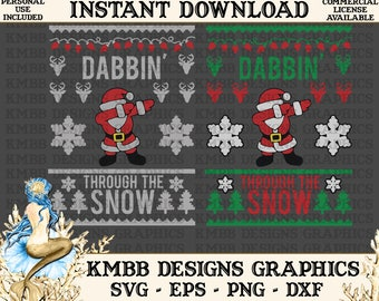 Instant Download - Personal Use - Dab Santa Ugly Christmas Sweater Svg Eps Png Dxf - cutting File, svg files, Shirt Designs Wall Art