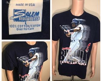 Vintage Cleveland indians tshirt // Albert Belle #8 // mlb baseball // 90s indians tee // chief wahoo // big logo graphic // adult large