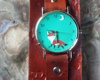 Cute Fox Leather Cuff Watch