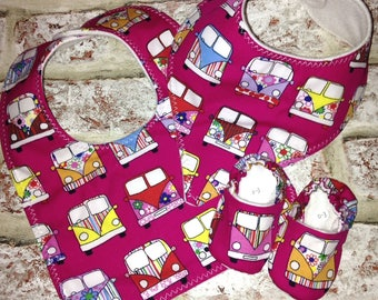 VW Pink Camper Van Baby Bibs with matching shoes also available