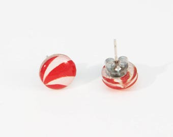 Candy Cane Earrings with Hypoallergenic Studs, Peppermint Candy Christmas Earrings, Red Earrings, Stocking Stuffer, Peppermint Earrings