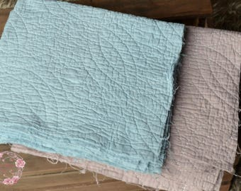 Hand dyed mini quilts for newborn or sitter photography,duck egg blue and beige tan colours,row distressed edges