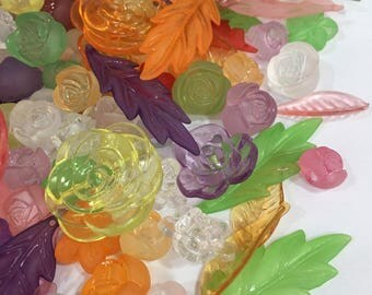 Mixed Lots Flower and Leaves Beads-Mixed Lots Beads-Flower Beads-Leaves Beads-Rainbow Beads-Beads